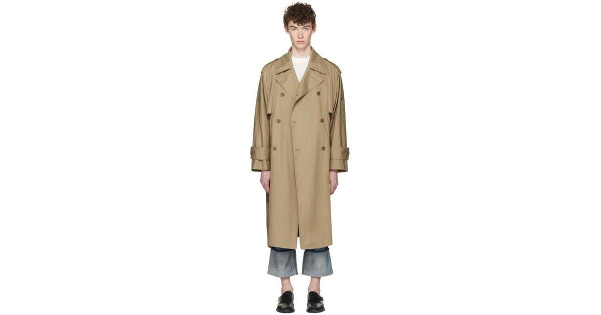 Maison Margiela Cotton Beige Oversized, Oversized Trench Coat Mens