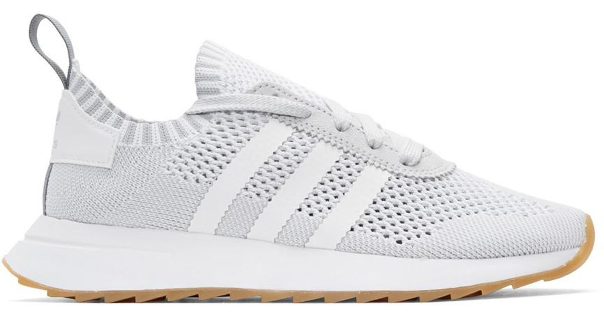2a1b6777b03 Lyst - adidas Originals White   Grey Flashback Sneakers in White