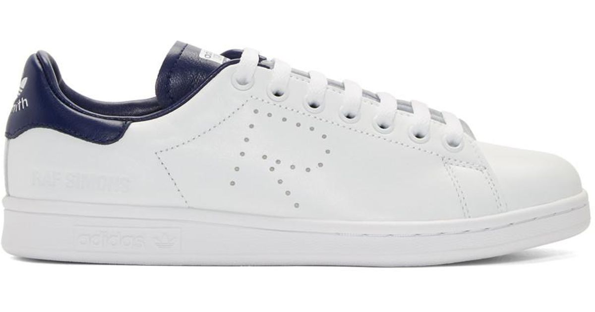 the latest best quality classic style Raf Simons White And Blue Adidas Originals Edition Stan Smith Sneakers for  men