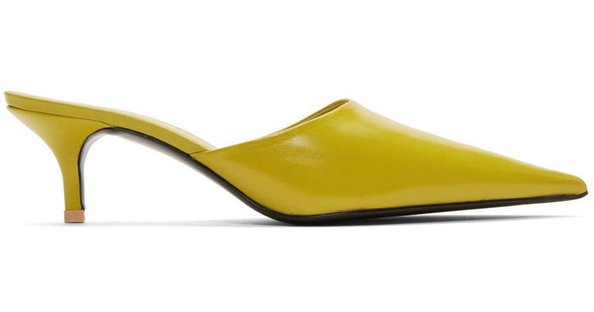 a4bf730f74a Acne Yellow Offset Kitten Heel Mules