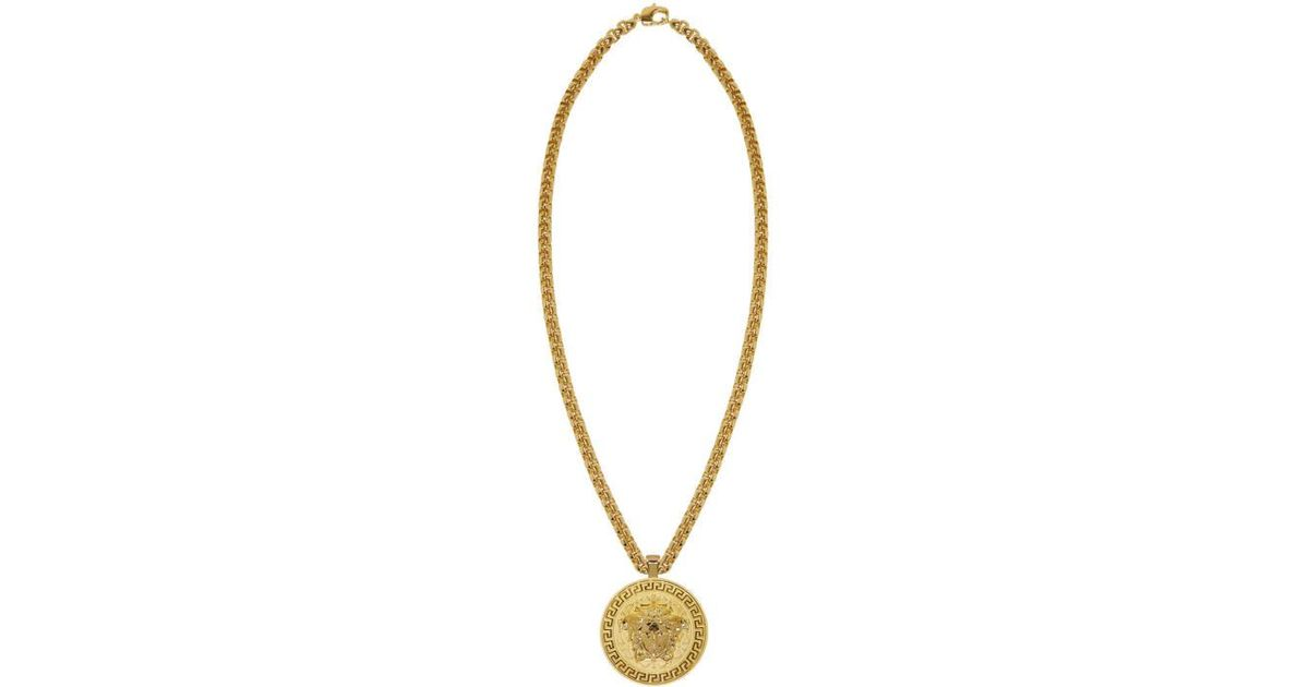 b3a187b8499a99 Versace Gold Large Round Medusa Chain Necklace in Metallic for Men - Lyst