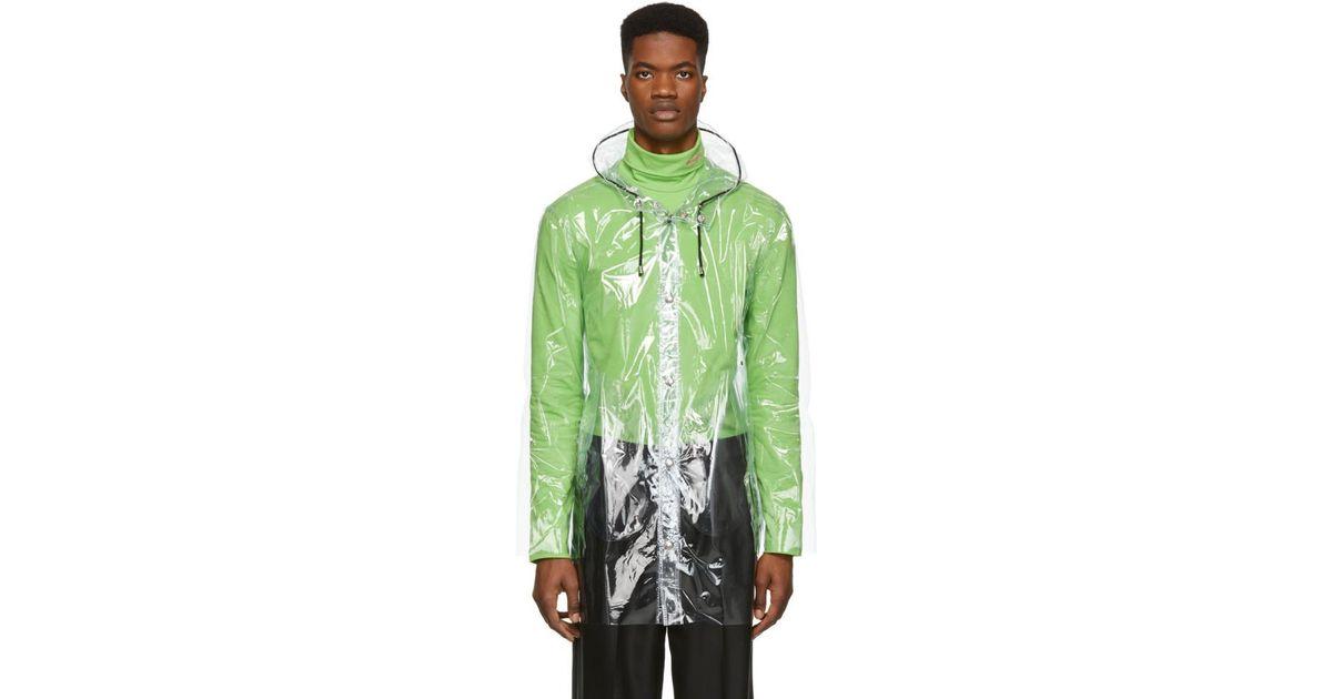 fd3e75696 Stutterheim Green Transparent Stockholm Raincoat for men
