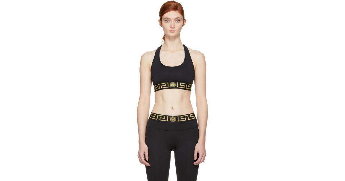 11f06f05405ea Lyst - Versace Black Greek Key Sports Bra in Black