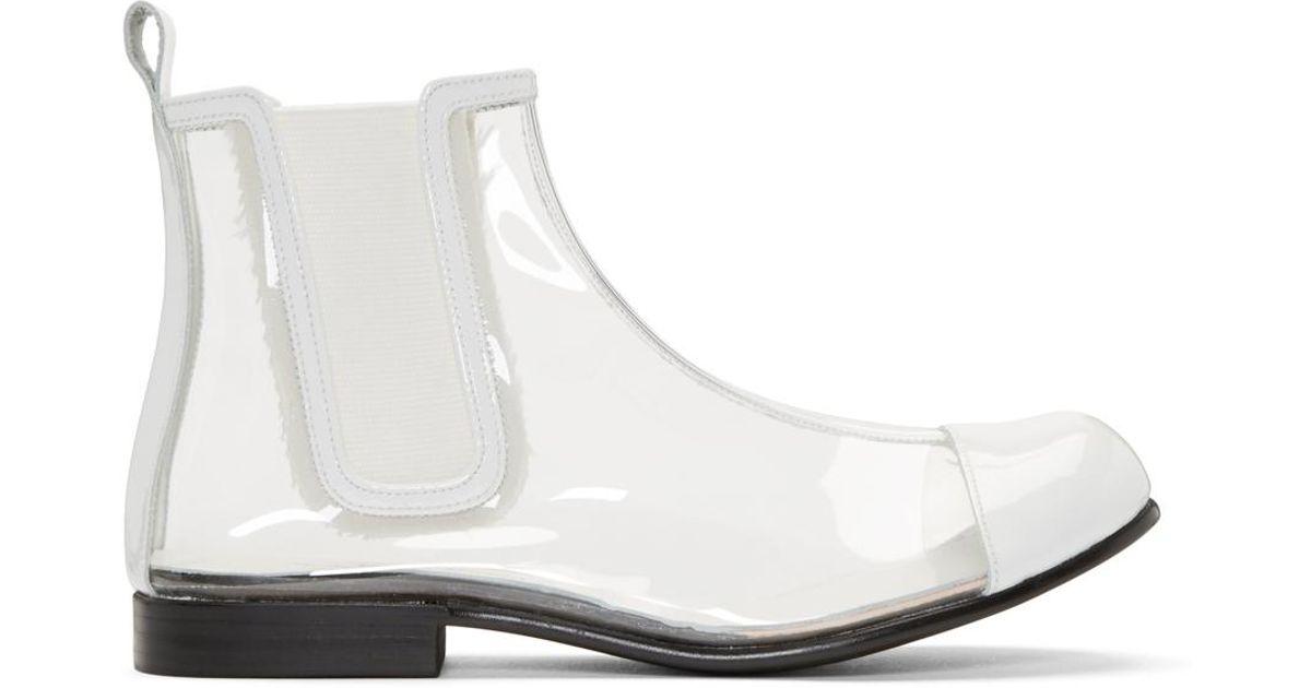 ad5358f7ebf Comme des Garçons Clear & White Pvc Chelsea Boots