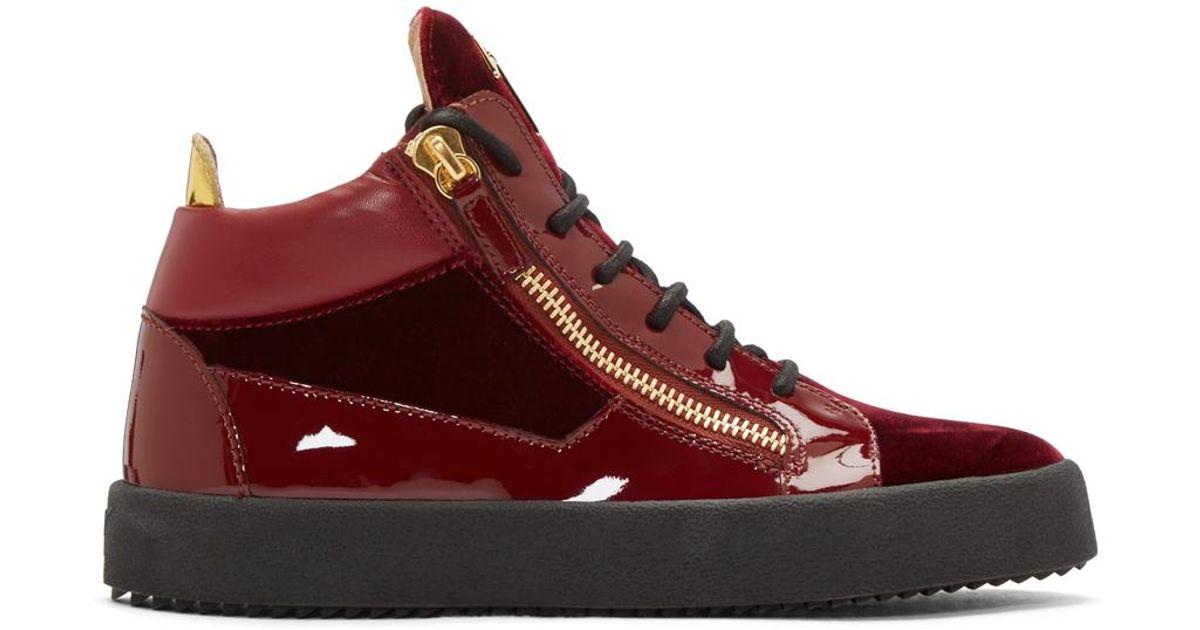 de71fe0e3b6 Lyst - Giuseppe Zanotti Red Velvet London High-top Sneakers in Red for Men
