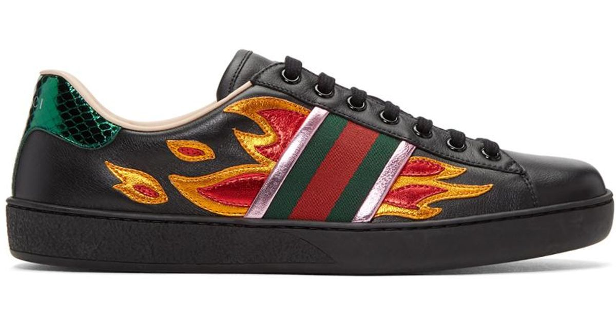 Gucci Leather Black Flames Ace Sneakers