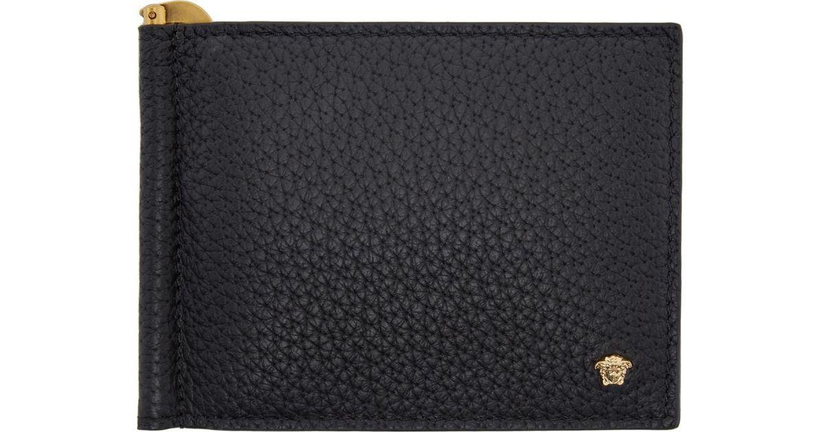 Versace - Collection Black Saffiano Leather Medusa Logo Bifold  new  authentic cb3e9 91f93 Lyst - Versace Black Money Clip Medusa Wallet in Black  for M ... bf924019e8