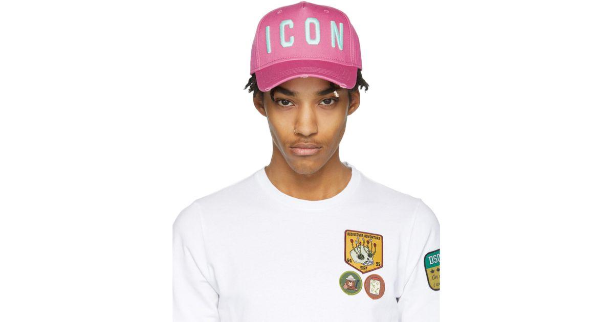 3af56bb96 DSquared² Pink Icon Cap for men