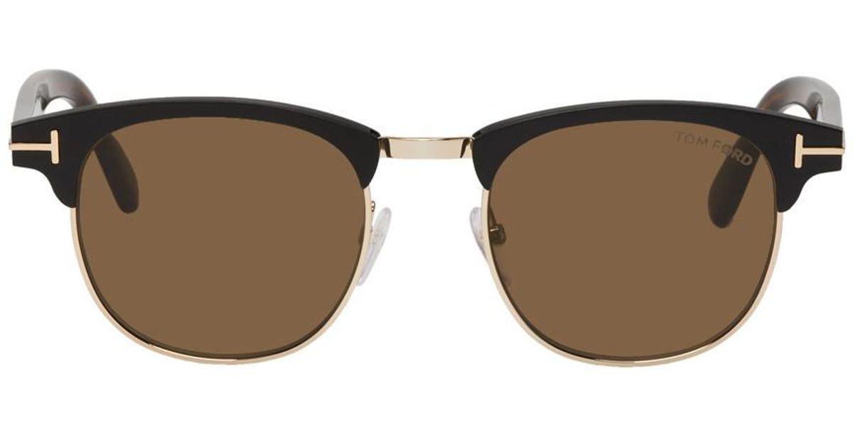 2c1347e40e8 Lyst - Tom Ford Black And Gold Laurent Sunglasses in Black for Men