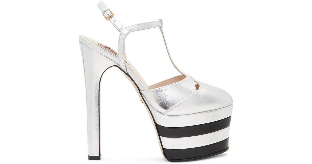 287b6e2c726 Lyst - Gucci Silver Angel Platform Heels in Metallic