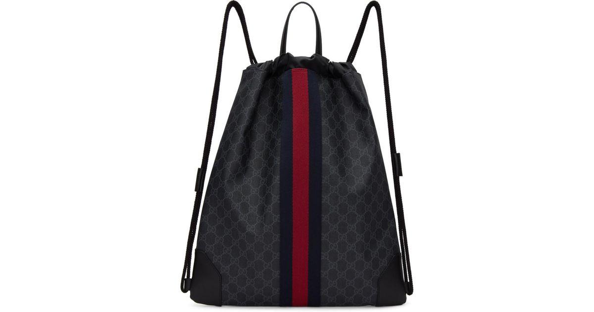 ea7b69d6ff36 Lyst - Gucci Black GG Supreme Drawstring Backpack in Black for Men