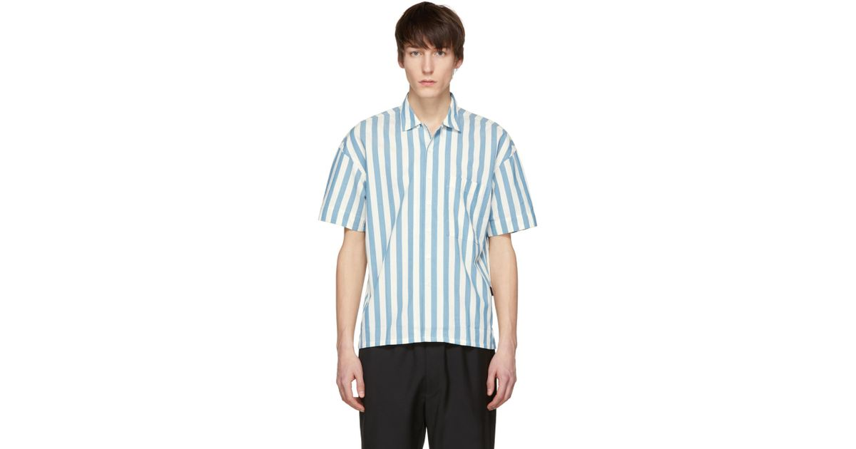 8dec68c965f Burberry White And Blue Short Sleeve Vertical Stripe Shirt for men