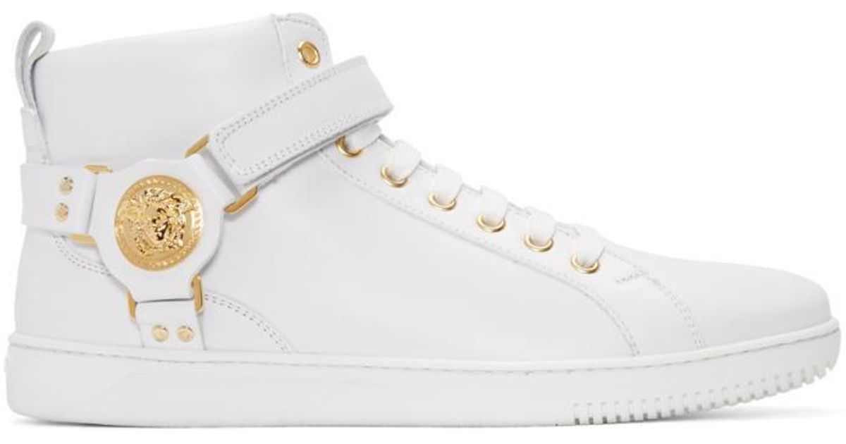 Versace Leather White Harness High-top