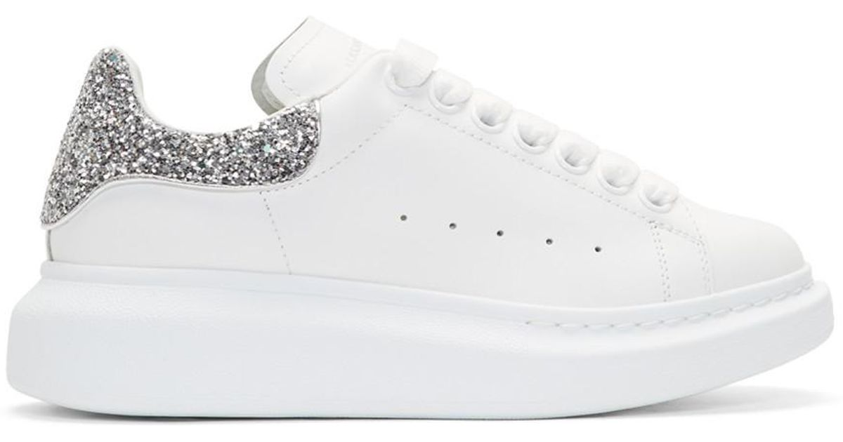 Alexander McQueen White And Silver Glitter Oversized Sneakers
