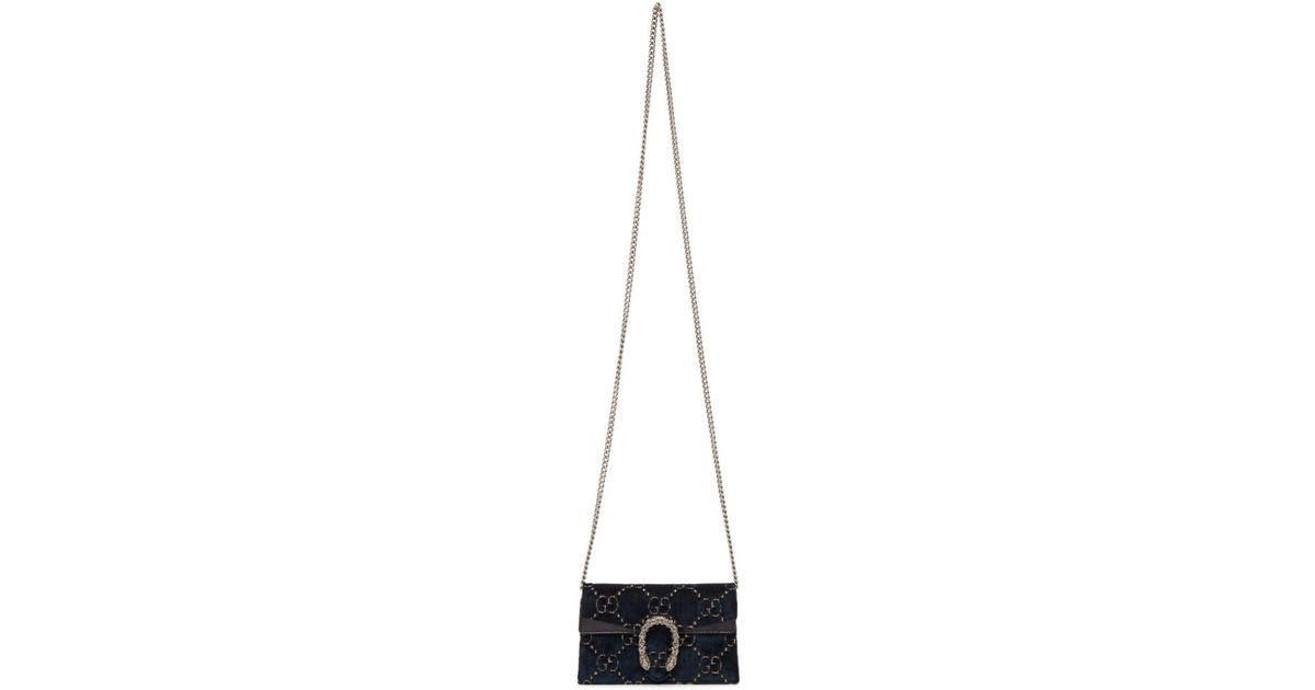 7d6fca21ee8 Lyst - Gucci Blue Velvet Supermini Dionysus GG Wallet Chain Bag in Blue