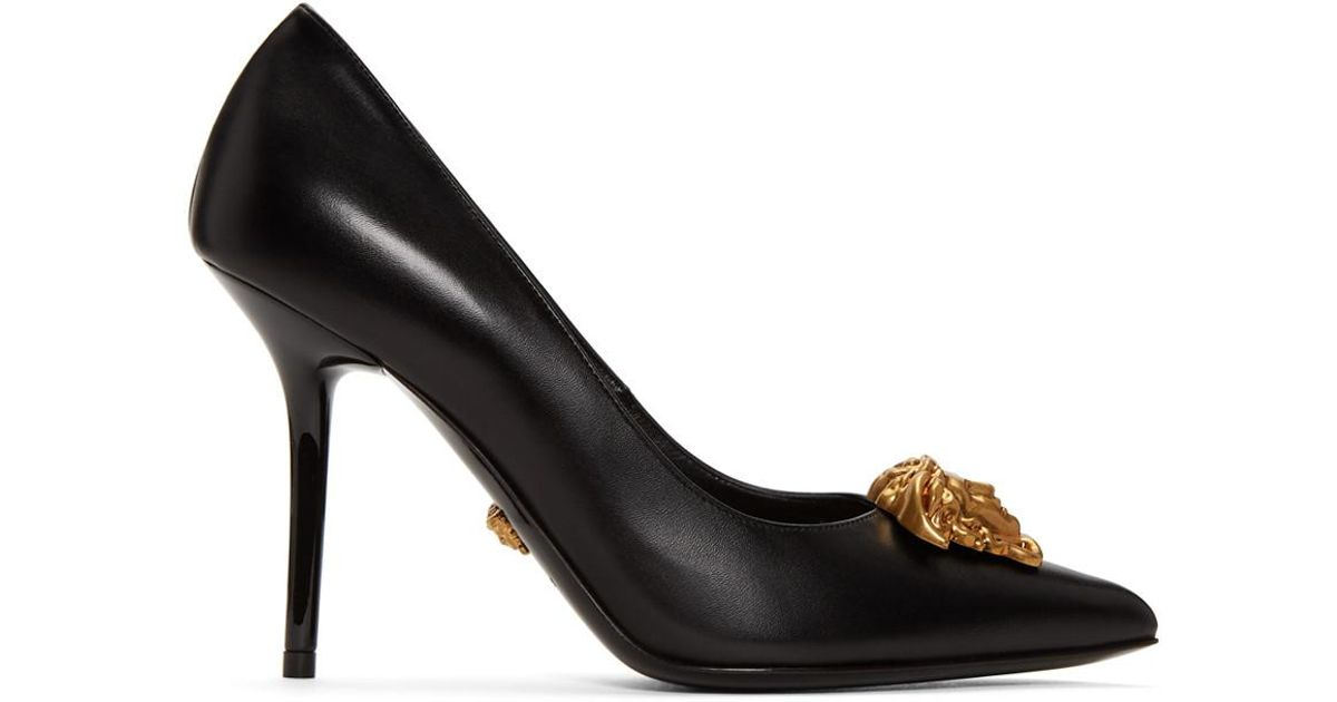 b2fb55c4777 Lyst - Versace Black Tribute Medusa Heels in Metallic