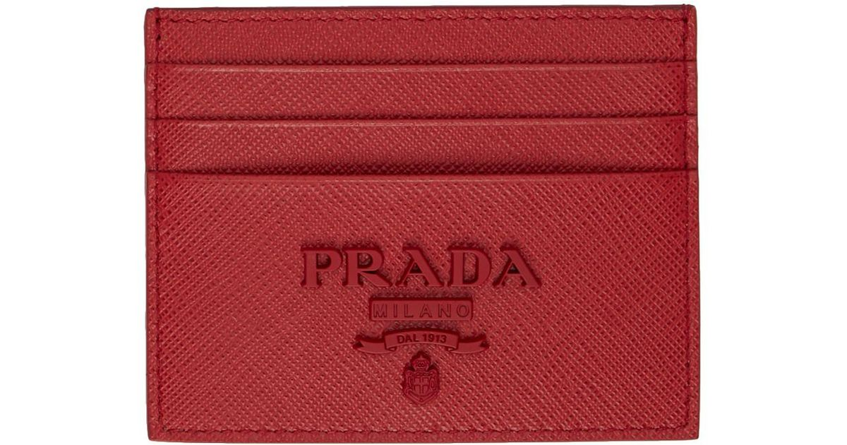 040fa2c43faa ... buy prada red saffiano logo card holder in red lyst 1174a d6d7d