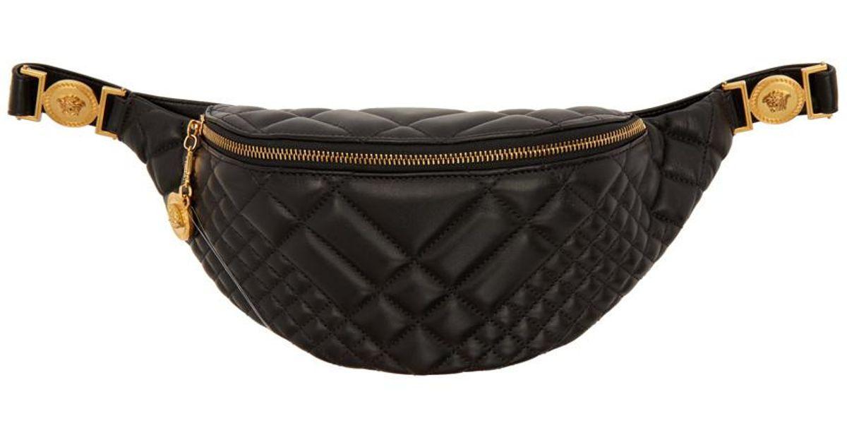 5d2f107a5d Versace Black Quilted Medusa Belt Bag