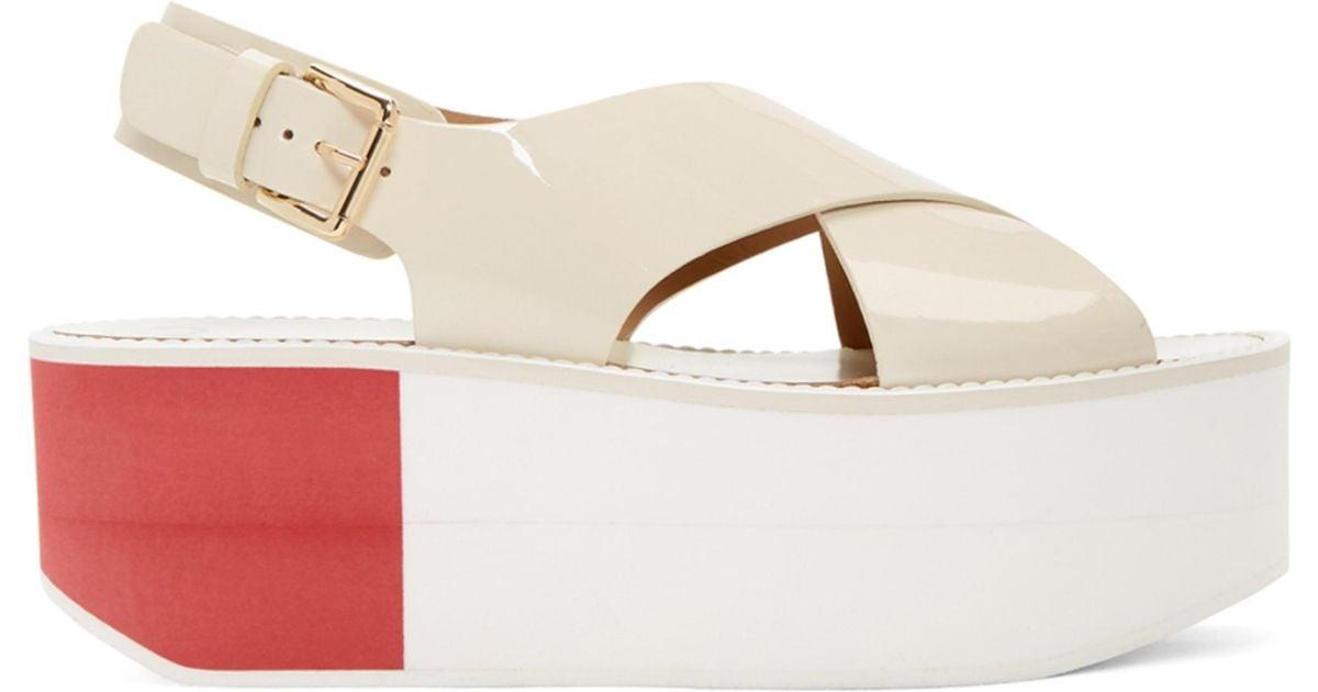Flamingos Off-White Patent Virginia Platform Sandals pDFQ0U