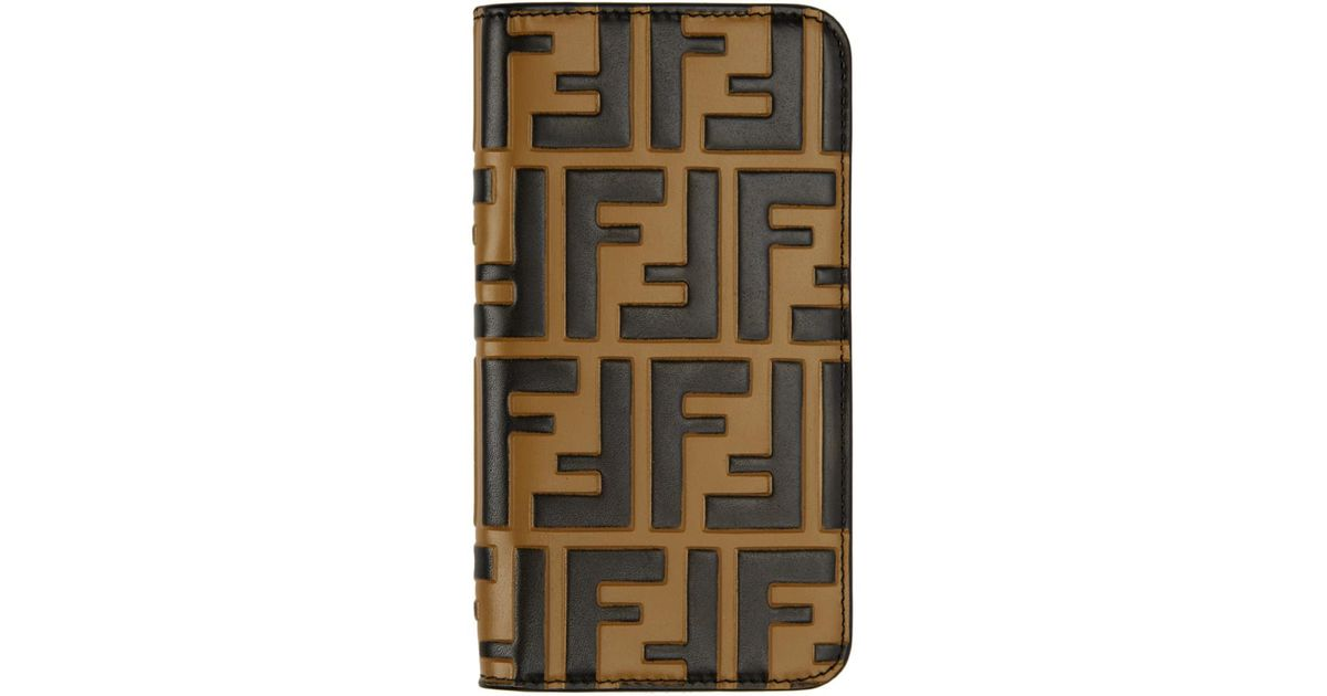 25b1f6b04047 Lyst - Fendi Brown Forever Iphone X Case in Black