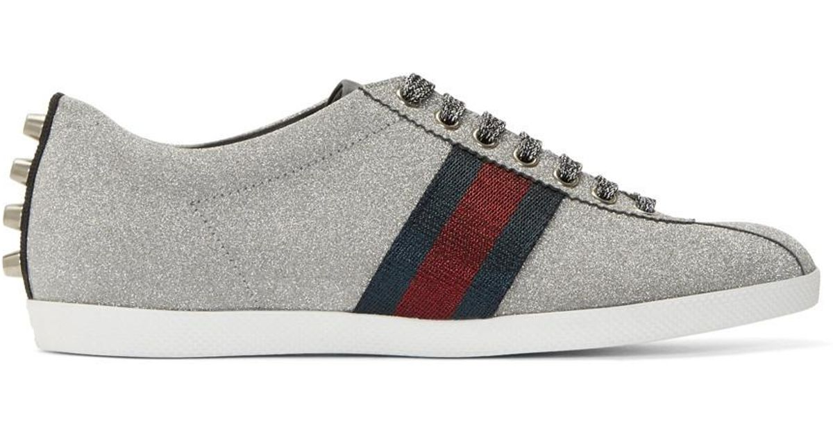 0182c0040be Gucci Silver Glitter Web Bambi Sneakers in Gray for Men - Lyst
