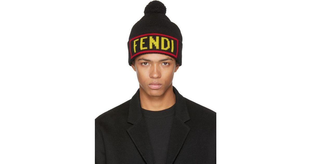 66b8184221ab11 Fendi Black 'love' Pom Pom Beanie in Black for Men - Lyst