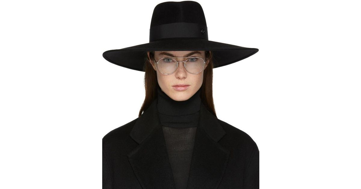 Maison Michel Black Large Pina Fedora in Black - Lyst 3e2b18514be