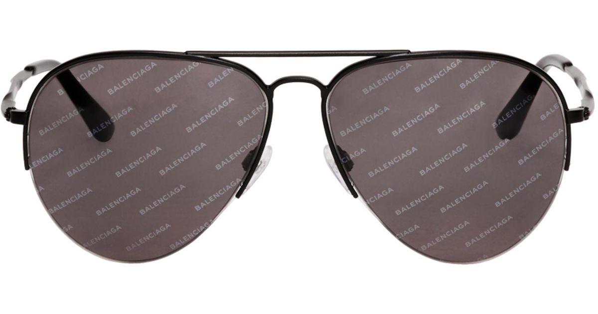 Sunglasses Logomania Balenciaga Aviator Men Pilot For Black cT3Fl1JK