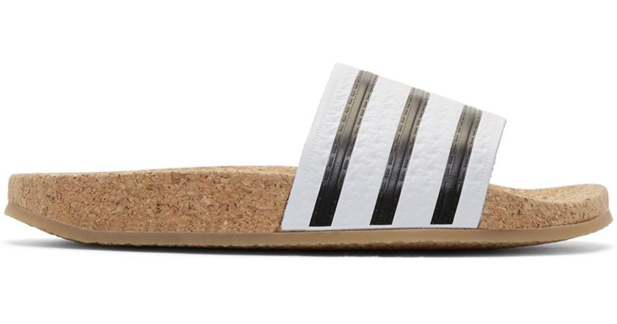 b90bcd3372b9 Lyst - adidas Originals White Adilette Cork Slide Sandals in White