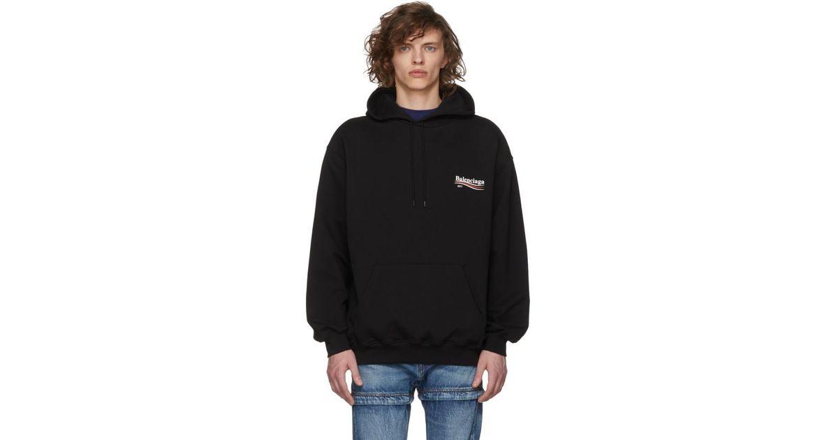 b03c537f6da Lyst - Balenciaga Black Campaign Logo Hoodie in Black for Men