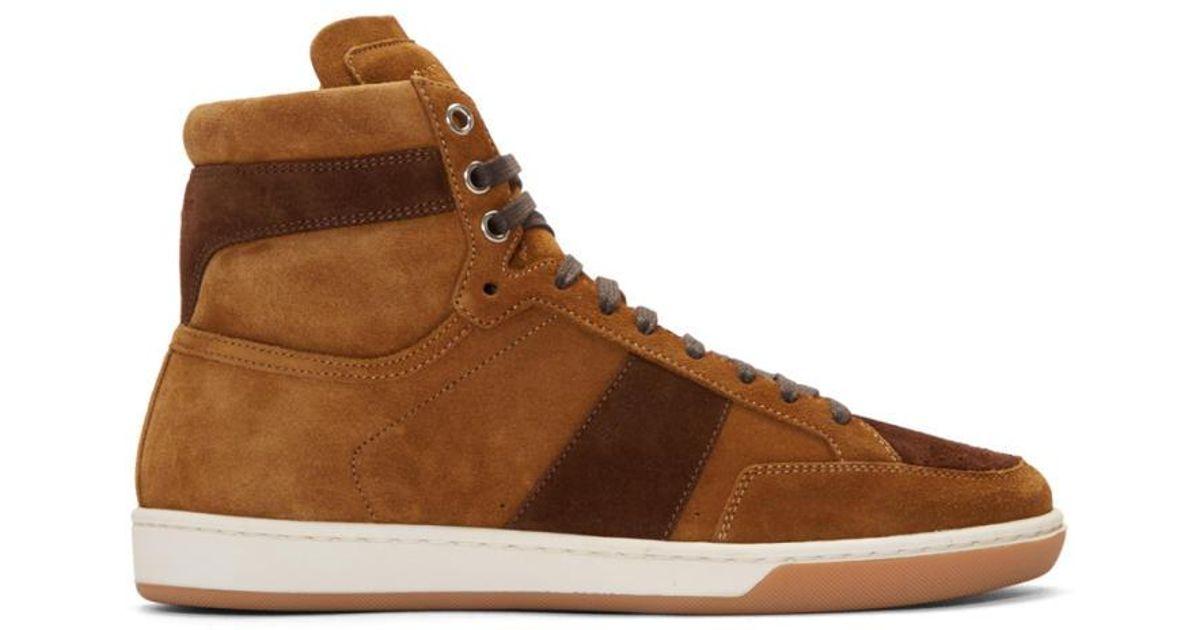 c6b0143aae Saint Laurent Brown Tan Suede Court Classic High-top Sneakers for men