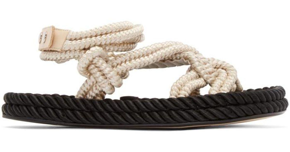 9d3dcda66620 Lyst isabel marant ecru lou twisted rope sandals in black jpeg 1200x630 Rope  flip flops