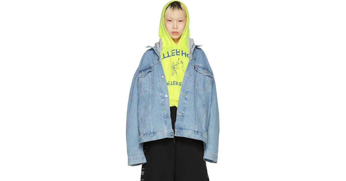 Vetements Blue Levis Edition Oversized Hooded Denim Jacket In Blue