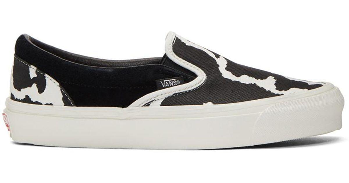 4dfa1e0023 Vans Black And White Cow Og Classic Slip-on Sneakers in Black for Men - Lyst