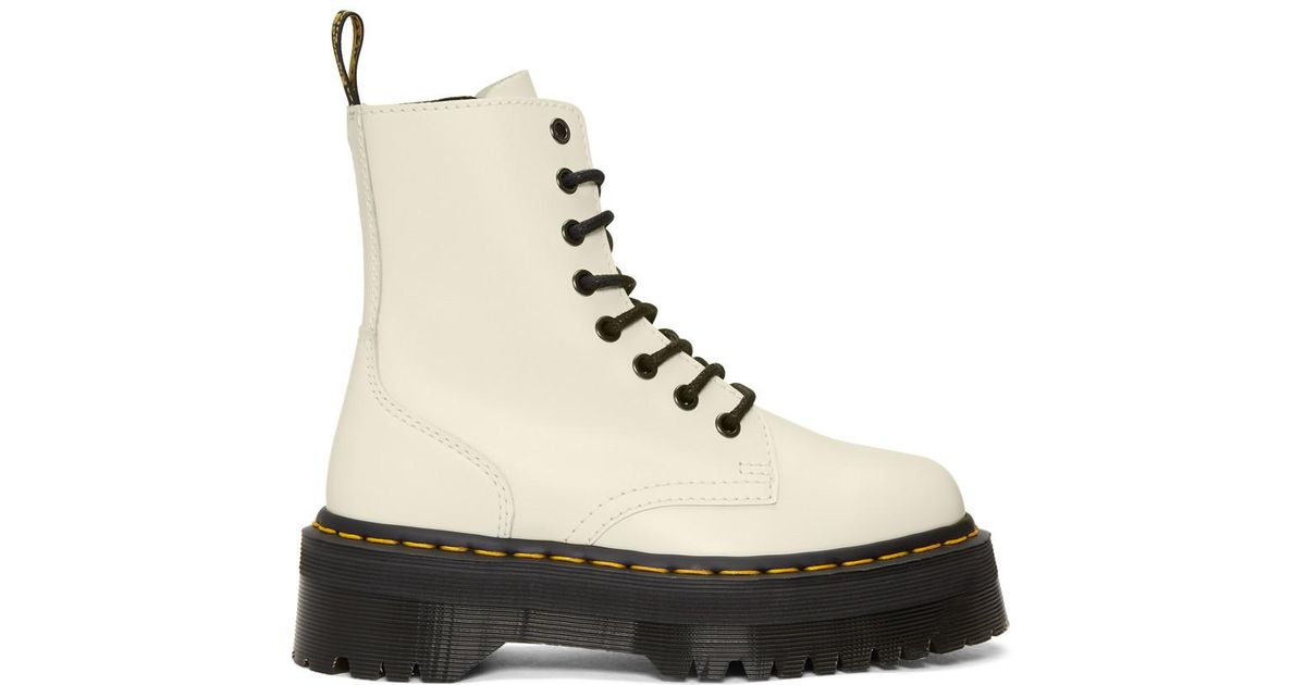 f7e643b71eee0 Dr. Martens Jadon White Leather Ankle Boots With Maxi Sole, Size Uk: in  White - Lyst