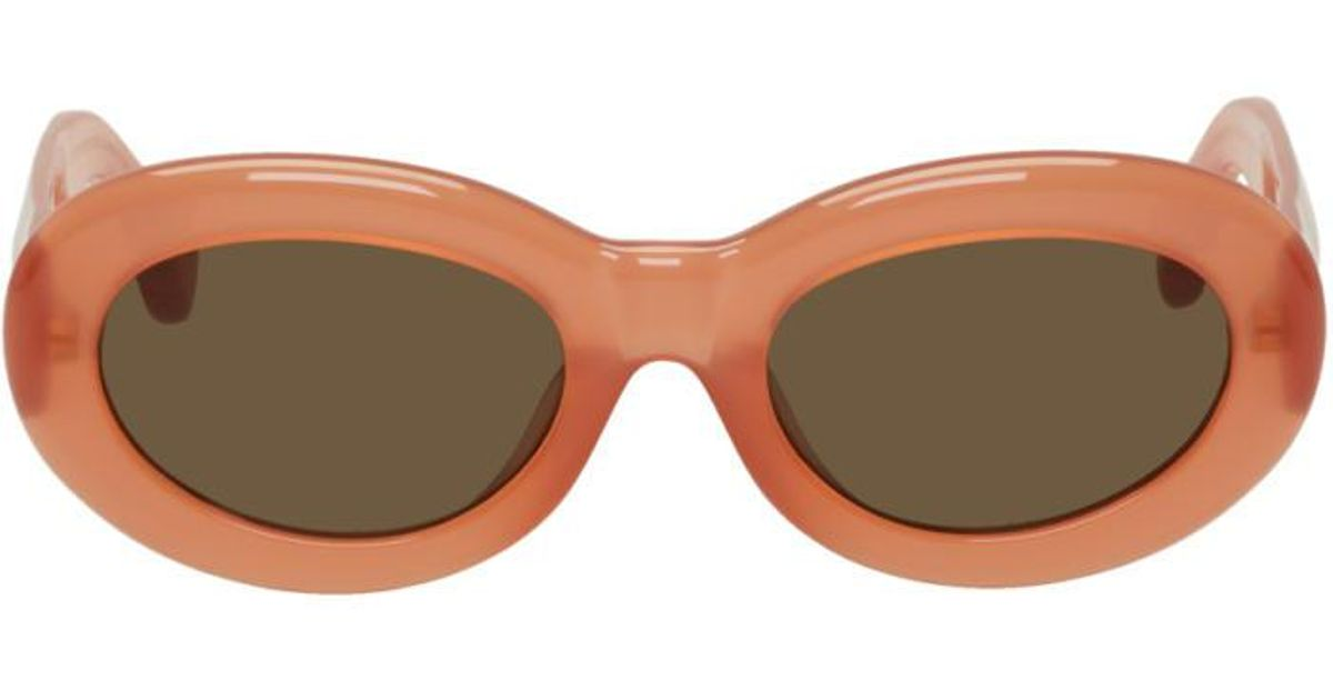 b8312c5cb5 Lyst - Dries Van Noten Orange Linda Farrow Edition Oval Sunglasses in Orange