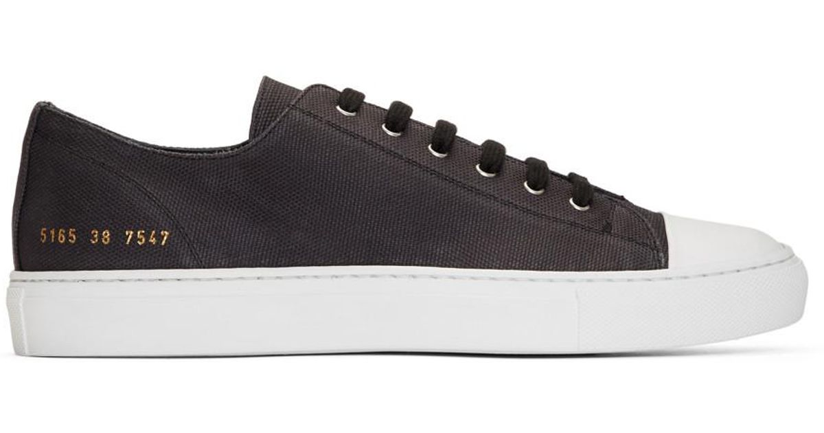 5c7ddb267934 Lyst - Common Projects Black Canvas Tournament Low Cap Toe Sneakers in  Black for Men