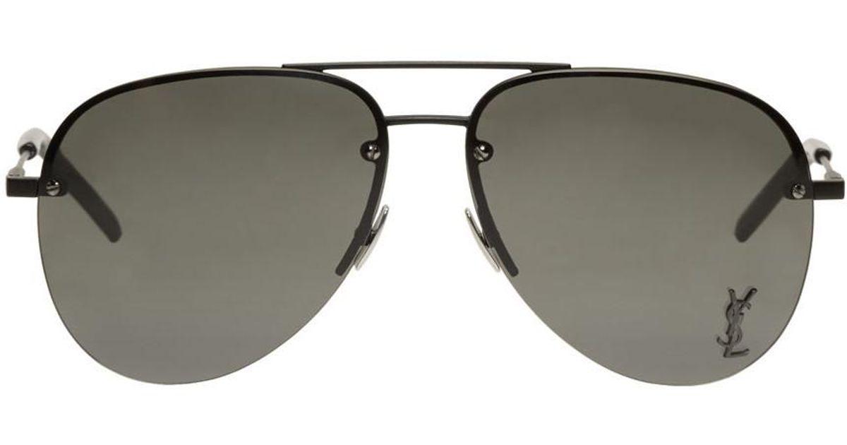 df67f97390 Saint Laurent Black Monogram M11 Aviator Sunglasses