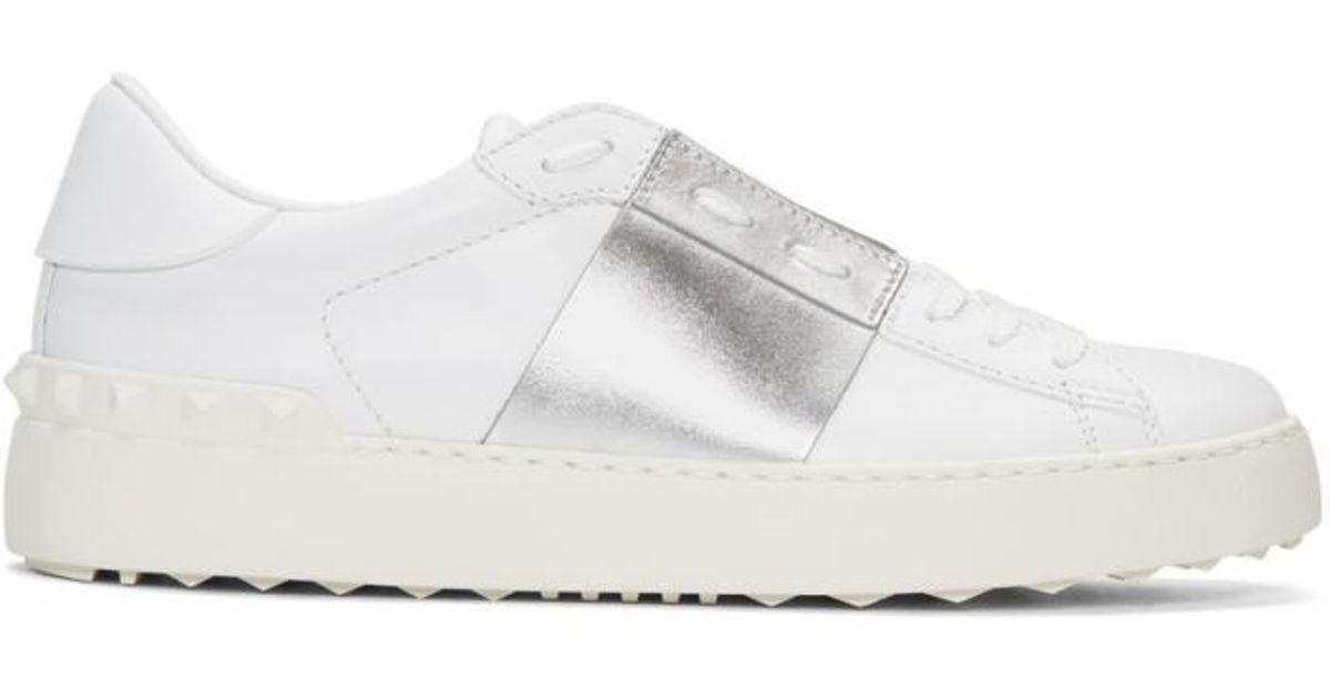 Valentino Leather White \u0026 Silver Open