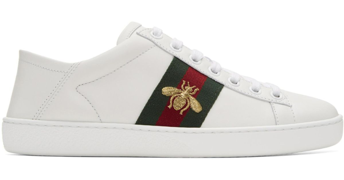 Gucci White Bee Ace Folded Sneakers OmdEa4
