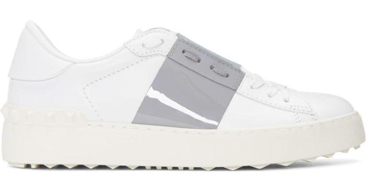 Valentino Leather White \u0026 Grey Open