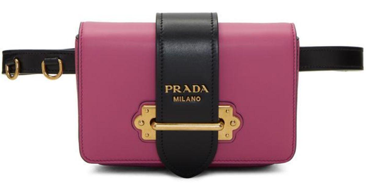 c3d11520940f ... switzerland lyst prada pink cahier chain belt bag in pink 27c97 c94a5