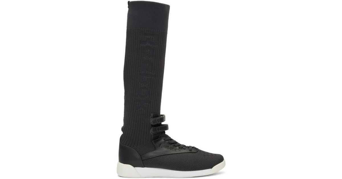 0d5829c716e0 Lyst - Reebok Ssense Exclusive Black And Grey Freestyle Hi Ultraknit  Sneakers in Black