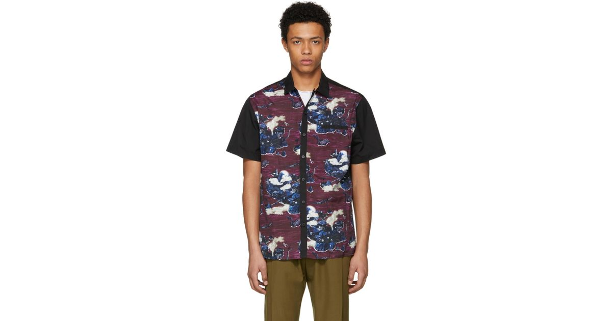 329b12496aa Lyst lanvin black and purple bowling shirt in black for men jpeg 1200x630  Purple camo bowling