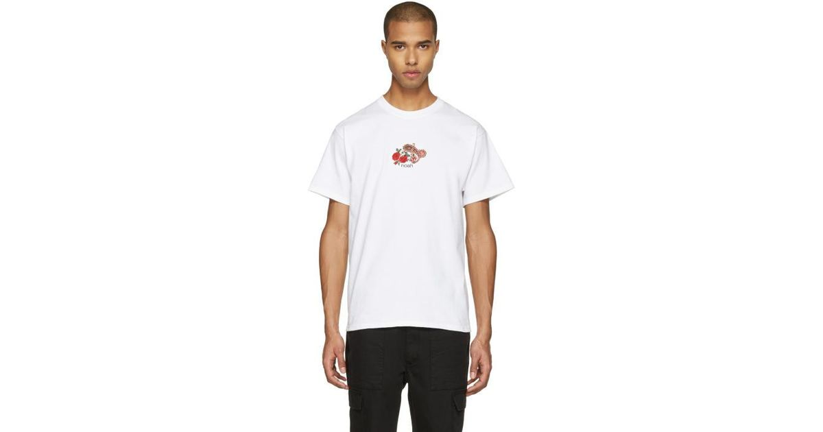 Lyst noah nyc white embroidered paisley logo t shirt in