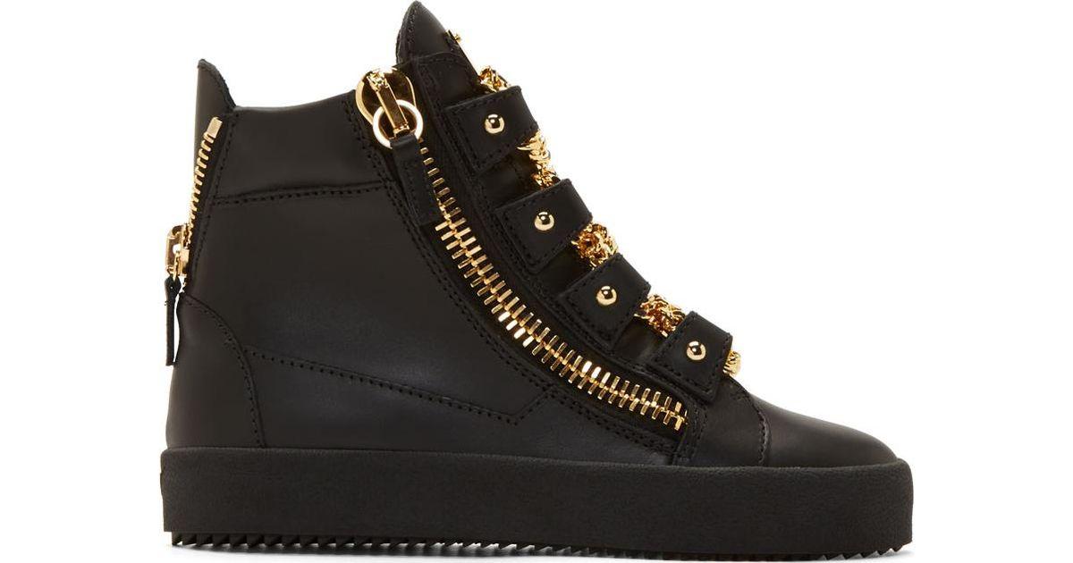 67fa261cc1f1a Giuseppe Zanotti Black Leather London Birel High-top Sneakers in Black -  Lyst