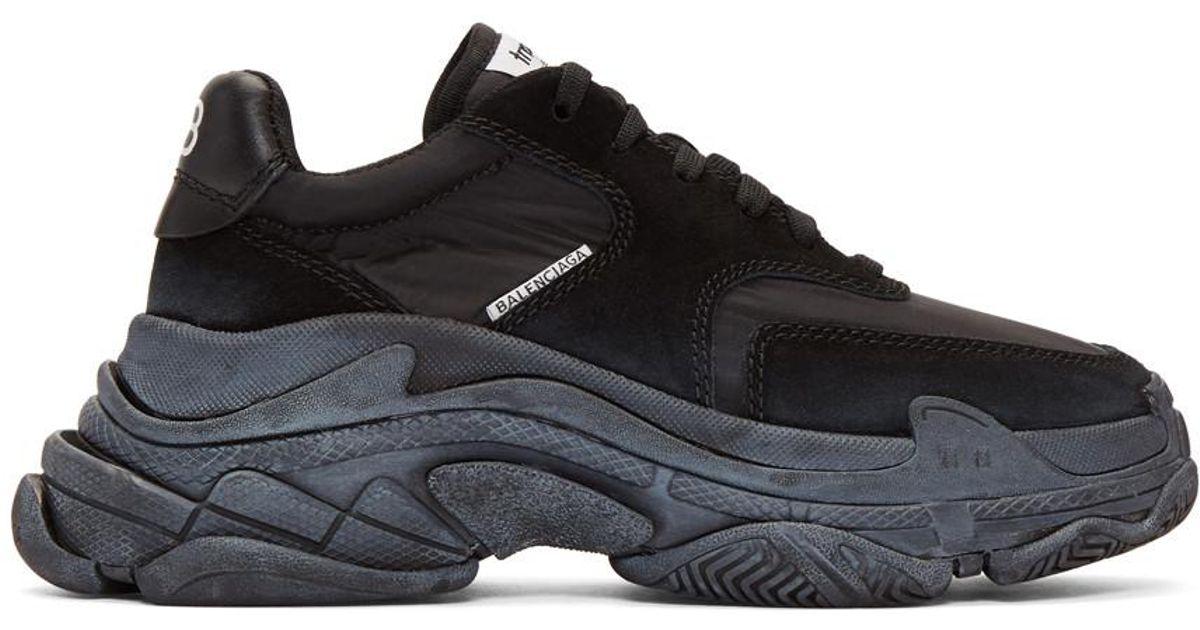 98bc4794fa Balenciaga Black Diagonal Logo Triple S Sneakers in Black - Save 16% - Lyst