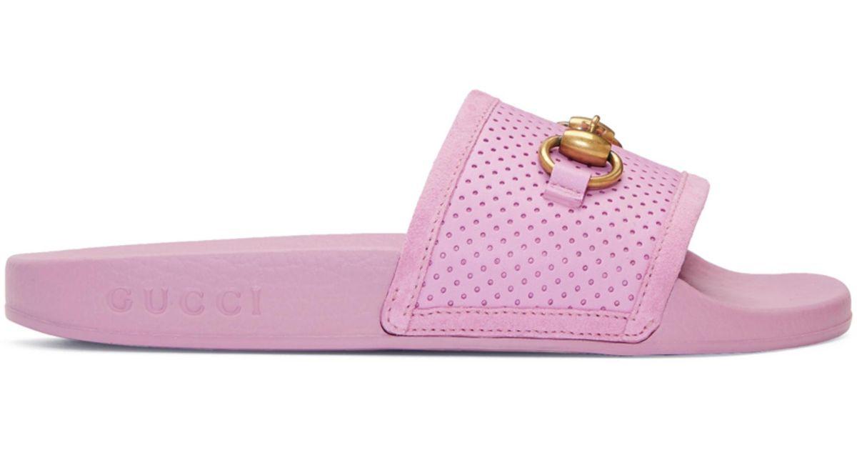 fd5da4230f6b Gucci Purple Horsebit Pursuit Slides in Purple - Lyst