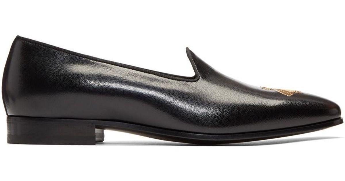 b5c323c48b8 Lyst - Gucci Black Bee Gallipoli Loafers in Black for Men