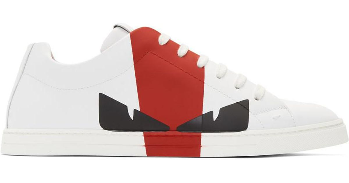Fendi White And Red Leather Bag Bugs